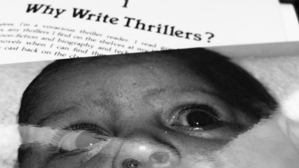 "scared baby Kaia photo on ""Why Write Thrillers"" book"